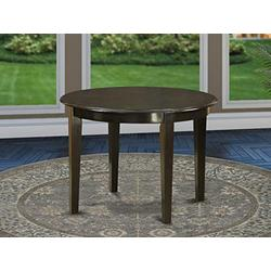 East West Furniture ABOT BOT-Cap-T Boston Top Surface and Cappuccino Finish Tapered 4 Legs Hardwood Frame Wood Dining Table, 42-Inch