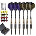 LARRITS 6 Pack 24 Grams Steel Tip Darts Set with Aluminum Dart Shafts, Include 18 pcs Dart Flights + 6 pcs Spare Aluminum Dart Shafts+ 6 pcs Rubber O-Rings + Dart Sharpener + Storage Case…