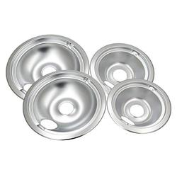 WB31T10010 and WB31T10011 Chrome Oil Drip Pans Replacement Set Fits for GE Hotpoint Kenmore Electric Range with Locking Slot - Includes 2 6-Inch and 2 8-Inch Pans, 4 Pack, Silver
