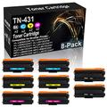8-Pack (2BK+2C+2Y+2M) Compatible High Yield HL-L9310CDWT HL-L9310CDWTT DCP-L8410CDW Laser Printer Cartridge Replacement for Brother TN-431 (TN-431BK TN-431C TN-431Y TN-431M) Toner Cartridge