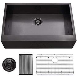 HOSINO 33 inch Black Kitchen Sink, Farmhouse Sink Single Bowl Farmers Sink Stainless Steel Apron Sink 16 Gauge Undermount Sink Flat Front Kitchen Sinks