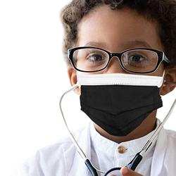 50 pcs of ASTM Level 3 Disposable Kids Face Mask - Made in USA - Certified by Eurofins & Nelson Labs | Designed for Children | For Girls and Boys, School, Outdoor, University (Obsidian Black)