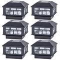 POWGDLT Solar Post Cap Lights Outdoor 10 Lumen Double LED Fence Post Solar Powered Waterproof Light for 4x4 or 5x5 Wood Posts in Patio, Deck or Garden Decoration, 6 Pack……