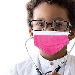 50 pcs of ASTM Level 3 Disposable Kids Face Mask - Made in USA - Certified by Eurofins & Nelson Labs | Designed for Children | For Girls and Boys, School, Outdoor, University (Hot Pink)