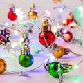 13 Ft 40 LED Christmas Decorative Wire Light Colorful Fairy String Light with Ball, Star and Bell Ornament LED String Lights Battery Operated Wire Lamp Ornament for Christmas Holiday Decor