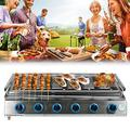 DYRABREST 6 Burner LPG Gas BBQ Grill Stainless Steel Smokeless Roaster Height Adjustable Tabletop Grill Indoor Outdoor Picnic Camping Barbecue Grill (US Stock)