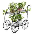 Garden Cart Stand - Metal Plant Stand Flower Pot Handle Cart Holder with 4 Decorative Wheels, Plant Potted Rack Display Rack for Indoor Outdoor Home Garden Patio (2 Layer)