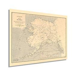 HISTORIX Vintage 1909 Alaska State Map - 18x24 Inch Vintage Map of Alaska Wall Art Decor - US Geological Survey of State of Alaska Map Poster - Historic Alaska Wall Map - Old Map Alaska (2 Sizes)