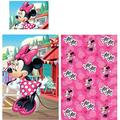 Disney Minnie Mouse Cot Bedding Set Pink - Minnie Mouse Toddler Bedding Duvet Quilt Cover Pillowcase Reversible - 2 Piece Toddler Bed Set Girls Set 100% Cotton Official Licensed(55.1 in x 37.5 in)