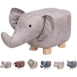 Animal Footstools, Ottomans Padded Cushion Footstool Pouffe Stool Rest Seat Sofa Chair Kids Learning Stool Elephant Bench Shoes Children Cartoon Stool Solid Wood Stool (Grey Elephant)