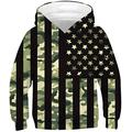 Boys American Flag Hoodies for Kids 3D Printed Army Green Camo Pullover Sweatshirts With Big Pocket 6 7 8 Years Old Little Girls 4th of July Casual Sports Shirt Sweater Children Winter Hoody Clothes