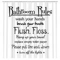 DYNH Black and White Shower Curtain Funny Bathroom Rule Shower Curtain for Bathroom, Motivational Inspirational Educational Bathroom Rule Shower Curtain, Kids Shower Curtain with 12PCS Hooks, 69X70IN