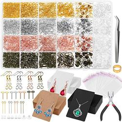 Earring Making Kit with Earring Cards, Anezus 3663Pcs Earring Making Supplies Kit with Earring Hooks, Earring Holder Cards, Earring Backs and Posts, Jump Rings for DIY Earring Jewelry Making