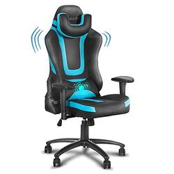 eclife PC Gaming Chair Ergonomic Racing Task Chair PU Leather Computer Desk Chair Recliner W/Massage Lumbar Support Footrest Headrest Armrest Rolling Swivel Office Chair (Blue+Without Footrest)