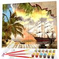 Opalberry DIY Paint by Numbers for Adults on Wood Board - Adults' Paint-by-Number Kits on Wood for Adult Beginners - DIY Painting on Wood Panel - Paint by Numbers Pirate Ship