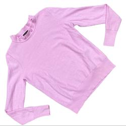 J. Crew Sweaters | J Crew Pink Round Neck Frill Long Sleeve Sweater | Color: Pink | Size: Xs