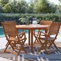 Birch Lane™ Decastro 5 Piece Teak Dining Set Wood in Brown/White, Size 29.0 H x 47.0 W x 47.0 D in   Wayfair 39DF9126953348318E2EE5C380DE8420