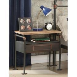 Williston Forge Vasbinder 1 - Drawer Metal Nightstand in Black/Beige Wood/Metal in Black/Brown, Size 22.0 H x 23.0 W x 17.0 D in | Wayfair