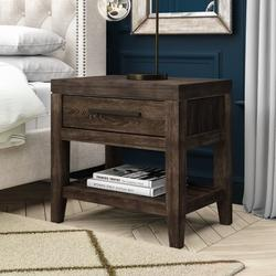 Birch Lane™ Simone 1 - Drawer Nightstand in Wood in Brown, Size 26.0 H x 28.0 W x 19.0 D in | Wayfair BRAY1900 37343252