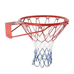 Basketball Rim + Basketball Net 15 inch/18inch, Indoor Outdoor Hanging Basketball Goal with All Weather Net Wall Mounted Basketball Hoop , Portable Basketball Hoop Goal System
