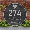 Address Plaque Butterfly Round Vintage Home Address Sign Garden Decoration Wall Mounted Sign,Imitation Metal,Used for Houses,Apartments,Gardens,Offices (Silver)