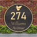 Address Plaque Butterfly Round Vintage Home Address Sign Garden Decoration Wall Mounted Sign,Imitation Metal,Used for Houses,Apartments,Gardens,Offices (Rose Gold)