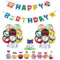 Super Mario Bros Birthday Party Supplies Party Decorations - Mario Happy Birthday Banner, Mario Balloons and Mario Cake Toppers Kit