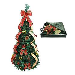 Top Treasures Fully Decorated Pop Up Christmas Tree   Pre lit Instant Pull Up Christmas Tree with Storage Bag (4ft)