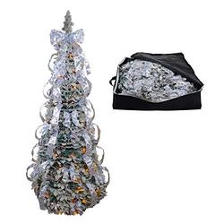 Top Treasures Fully Decorated Pop Up Flocked Christmas Tree   Pre lit Instant Pull Up Christmas Tree with Storage Bag (6ft Flocked)
