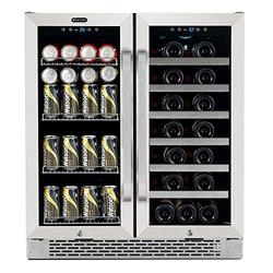 Whynter BWB-3388FDS 30″ Built-in French Door Dual Zone 33 Bottle 88 Can Beverage Center Wine Refrigerator, Silver