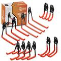 Garage Gear Pro Garage Hooks - 12-Pack Heavy Duty Steel Garage Storage Hook Set - Strong Utility Hooks and Hangers for Tool Organization - Wall Mount Hanger Hooks for Ladder, Bike and Hose Storage
