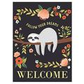 Diavy Welcome Cute Sloth Tree Poppy Garden Yard Flag 28x40 Double Sided, Summer Tropical Spring Flower Floral Decorative Garden Flag Banner for Outdoor Home Decor Party