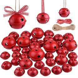 KUUQA 36 Pcs Christmas Jingle Bells Craft Bells Christmas Bells with Star for Christmas Party Christmas Tree Wreath Ornaments Holiday DIY Decorations