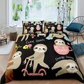 Feelyou Sloth Comforter Cover Set Cartoon Sloth Print Duvet Cover for Kids Boys Girls 3D Animal Theme Bedding Set Cute Sloth Pattern Bedspread Cover Bedroom Collection 2Pcs Twin Size