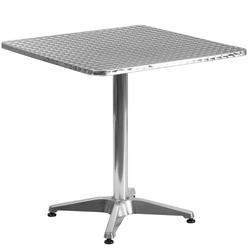 """Flash Furniture TLH-053-2-GG 27 1/2"""" Square Indoor/Outdoor Bistro Table - 27 1/2""""H, Aluminum Base/Stainless Top"""