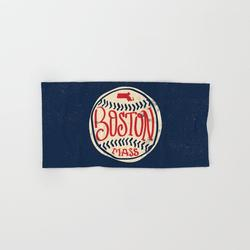 Hand Towel | Hand Drawn Baseball For Boston With Custom Lettering by Goodwordsco - Hand Towel - Society6