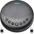 Bluetooth Speakerphone – Luna with 2 Dongles Updated AI Noise Reduction Algorithm Featured, Daisy Chain, USB Conference Speaker Phone w/Dongle for Home Office, 360° Voice Pickup