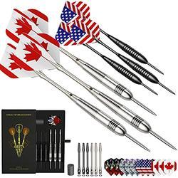 Honwally Darts Metal Tip Set Professional Throwing Darts Set Adults, Steel Tip Darts with 22g Brass Barrels, 2 Styles Metal Darts in Case