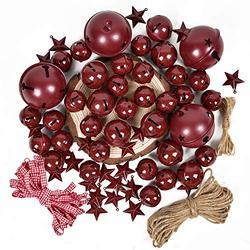 Artiflr 50 Pcs Burgundy Christmas Jingle Bells with Metal Barn Stars Christmas Metal Sleigh Bells Rustic Craft Bells for Christmas Tree Wreath Garland Ornaments Home Holiday DIY Decorations