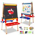 Arkmiido Kids Easel,Adjustable Height Double Sided Easels Whiteboard & Chalkboard Standing Easel with Chalkboard and Dry Erase Wooden Easels Multiple-Use Easel for Kids and Tollders