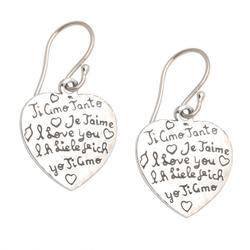 Sterling silver dangle earrings 'Ti Amo'