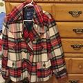 American Eagle Outfitters Jackets & Coats | American Eagle Plaid Winter Peacoat Coat Jacket Xl | Color: Green/Red | Size: Xl