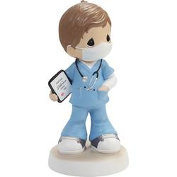 """Precious Moments Precious Moments You're My HeroHair, Light Skin Boy Healthcare Worker Figurine, Resin in Brown, Size Small - 4"""" - 7"""" H 
