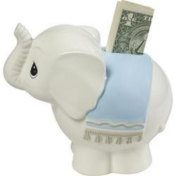 "Precious Moments Precious Moments Baby ElephantCeramic Piggy Bank, Ceramic in Blue, Size Small - 4"" - 7"" H | Wayfair 162426B"