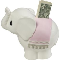 "Precious Moments Precious Moments Baby ElephantCeramic Piggy Bank, Ceramic in Pink, Size Small - 4"" - 7"" H 