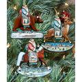 G. Debrekht Christmas Ornaments - Wooden Christmas Tree Ornaments - Christmas Decorations for Holiday - Set of 3 (Riding Santa)