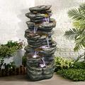 """Chillscreamni 4-Tier Rockery Outdoor Fountain - 40"""" H Outdoor Waterfall Fountain with LED Lights for Home&Office Decor, Stacked Rock Cascading Relaxation Garden Fountains Outdoor for Patio, Yard, Deck"""