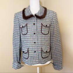 Anthropologie Jackets & Coats | Anthro Tape Measure Fur Trim Boucle Tweed Jacket | Color: Blue/Brown/White/Yellow | Size: 16