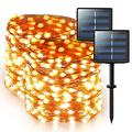 JMEXSUSS Warm White Solar Fairy Lights Outdoor Waterproof 2 Pack Each 66ft 200 LED Super Bright Solar String Lights, 8 Lighting Modes Copper Wire Lights for Patio Wedding Party Garden Decoration