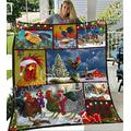 Chicken Quilt - Noel and Chicken - Christmas Quilt Quilt Patterns All-Season Quilts Comforters with Cotton - King Queen Twin Size Beach Trips, Gifts Quilt